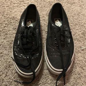 Vans sparkly black size 9 never worn